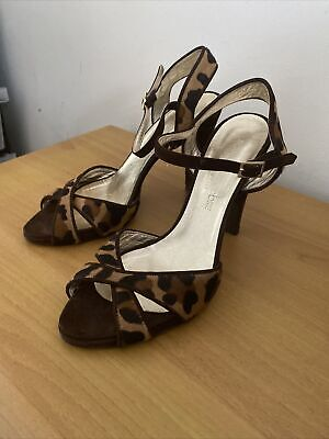 AU50 • Buy SCANLAN THEODORE SHOES LEATHER LEAPORD BROWN SUEDE HEELS 39 8 Made In Italy