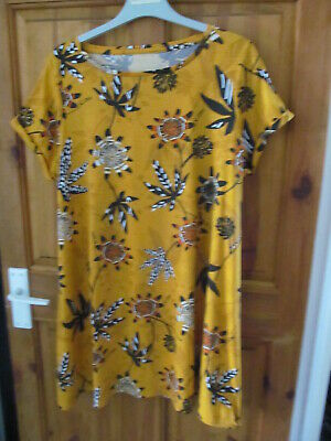 £1.99 • Buy Mustard Flowered Tunic Top Size 18