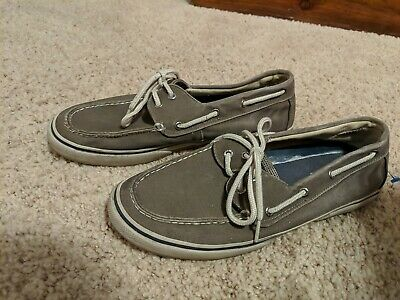 £16.09 • Buy Sperry Top-sider Mens Size 11 2 Eye Gray Canvas Boat Shoes 0777867