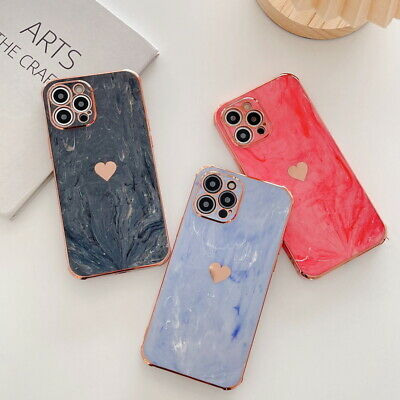 AU5.48 • Buy For IPhone 13 11 12 Pro Max Xs XR 8 7 Plating Heart Marble Silicone Case Cover