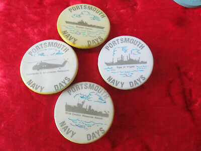 £5 • Buy ROYAL NAVY -  NAVY DAYS PORTSMOUTH 1970s - SET OF 4 RARE BUTTON BADGE
