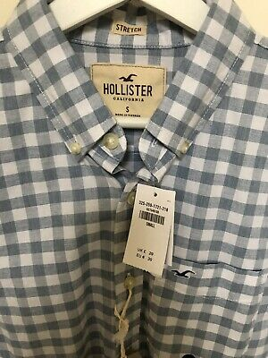 £8.99 • Buy HOLLISTER Mens Blue White Check Long Sleeve Shirt Size SMALL