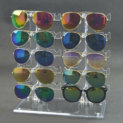 AU16.84 • Buy Two Row Sunglasses Rack 10 Pairs Glasses Holder Display Stand Transparent