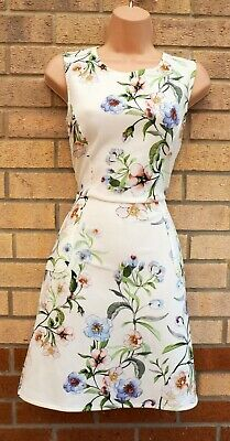 £24.99 • Buy Warehouse White Floral Sleeveless A Line Skater Tea Casual Cocktail Dress 10 S