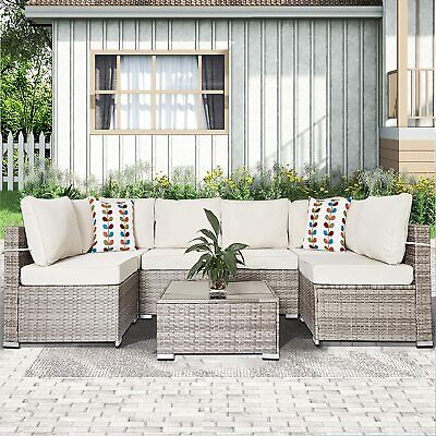 AU999.99 • Buy 7 Pieces Patio Furniture Rattan Wicker Sofa Set Outdoor Sectional Lounge Setting