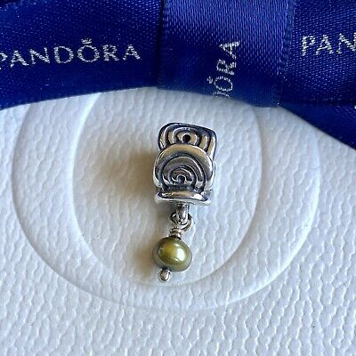 AU39 • Buy Authentic Pandora Silver Oxy Swirl Hanging Green Pearl Charm #790281