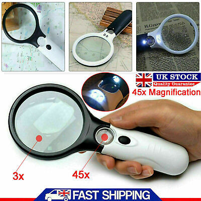 £4.15 • Buy Handheld 45X Magnifier Reading Magnifying Glass Jewelry Loupe With 3 LED Light.