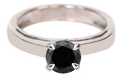 AU1.33 • Buy 14KT Real White Gold & 1.30Ct AA Natural Earthmined Black Diamond Round Cut Ring