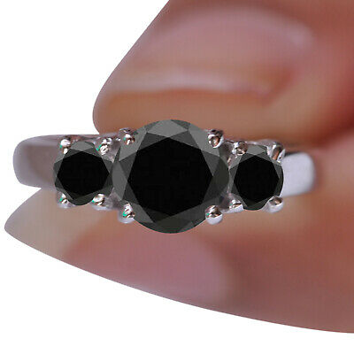 AU1.08 • Buy 3.00CT Round Shape Natural Earthmined Jet Black Diamond Ring In 14KT White Gold