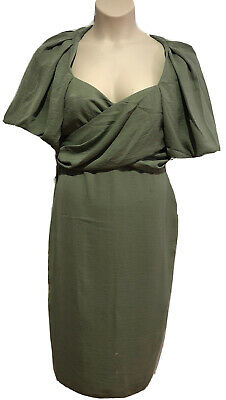 AU30 • Buy Green Midi Short Sleeve Dress/ Front Crossover Tie/Zip Size14 ASOS New/Tags