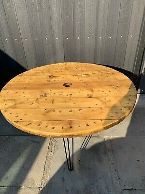 £100 • Buy  Industrial Wooden Cable Reel Drum Round Table, PATIO, DINING ROOM, RETRO, LARGE