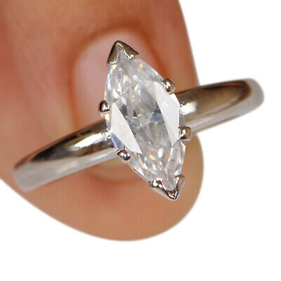 AU1.32 • Buy 2.60Ct D-Color Marquise Shape Solitaire Anniversary Ring In 925 Sterling Silver