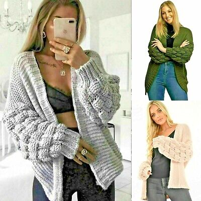 £16.99 • Buy Ladies Womens Bubble Bobble Sleeve Knitted Cardigan Chunky Knit Jumper Jacket