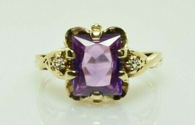 AU320.55 • Buy Vintage Purple Sapphire And Diamond Ring In 10k Yellow Gold 1.89Carats Size 6