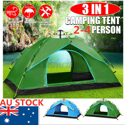AU40.37 • Buy Fully Automatic Family Camping Tent Waterproof 2-4 People Outdoor Hiking Dome