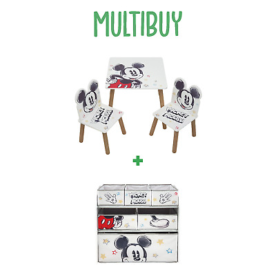 £94.99 • Buy Multibuy * Classic Mickey Mouse Wooden Table And Chair Set + 6 Bin Toy Organiser