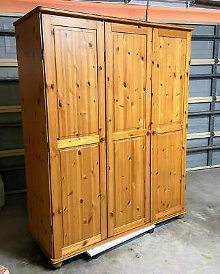 AU90 • Buy 3 Door Pine Wardrobe With Shelves And Hanging Space