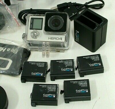 AU100 • Buy Go Pro HERO 4 With 6 X Batteries & Accessories In Carry Bag - Bids Start From $1