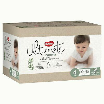 AU47.73 • Buy Huggies Ultimate Nappies, Unisex, Size 4 (10-15kg), 58 Pack Ult Nappies Toddler