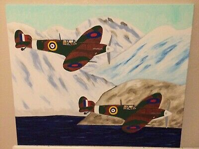 £20 • Buy Spitfires In Snow Abstract Oil Painting On Canvas
