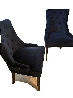 AU300 • Buy Navy Blue Velvet Dining Chairs - Temple & Webster (Like New)
