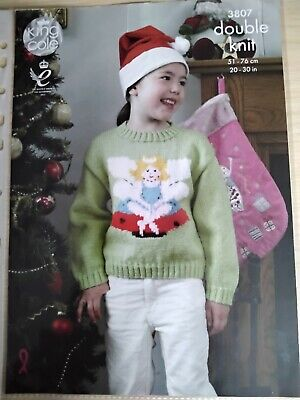 £0.99 • Buy King Cole Intarsia Christmas Knitting Pattern 3807. Fairy And Elf Sweaters. DK