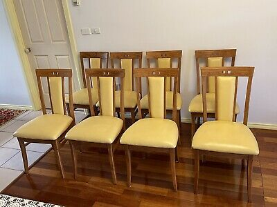 AU400 • Buy Berkowitz Leather & Timber Dining Chairs X8