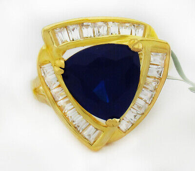 AU1.33 • Buy BLUE SAPPHIRE 6.15 Cts & WHITE SAPPHIRES RING 14K YELLOW GOLD PLATED NWT # 7.25