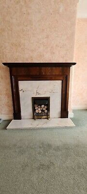 £75 • Buy  Mahogany Vaneer Fire Surround With Solid Marble Back & Hearth