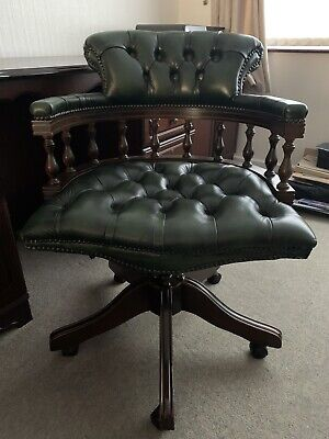 £250 • Buy Captains Leather Chesterfield Chair Racing Green