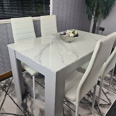 £219.99 • Buy Kosy Koala Marble Effect Dining Table And 4 White Chairs Set For Dining Room