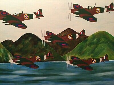 £20 • Buy Spitfire Formation Abstract Oil Painting On Canvas