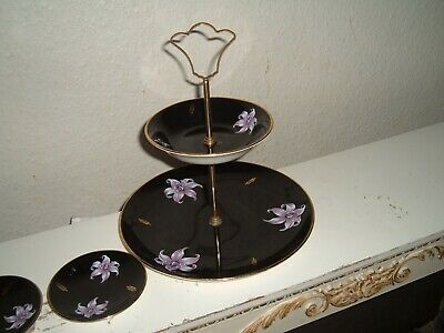 £9.99 • Buy Royal Worcester Palissy Black   Orchid  Two Tier Cake Stand With Two Pin Trays