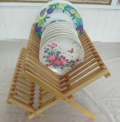 £7.99 • Buy Foldable Wooden 2 Tier Plate & Cup Sturdy Dish Drainer Kitchen Drying Rack