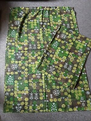 £29.99 • Buy Vintage Retro 1970s Curtains  Green, Yellow Brown Print -49inch X 68inch Wide X2