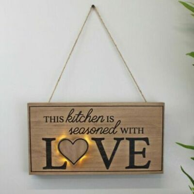 £4.20 • Buy LED Hanging Plaque Sign Wooden Rope Quote Light Up Kitchen Accessory Home Decor