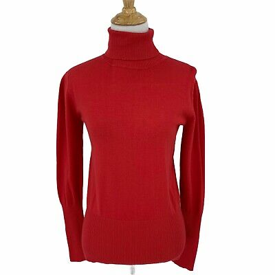 AU24.16 • Buy Sao Paulo Turtleneck Red Sweater Womens Size 6 Rib Trim Long Sleeve Fitted Top