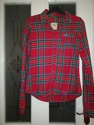 £4.50 • Buy Ladies Size Small Red Check Long Sleeve Top Shirt Blouse By Hollister