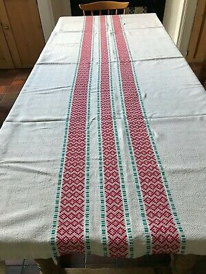 £25 • Buy Xl Excellent Quality Vintage French Farmhouse Table Cloth. Rustic Weave