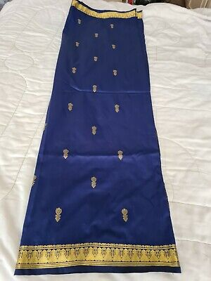 £12 • Buy Ladies Blue Saree Silk Blend With Matching Stitched Blouse