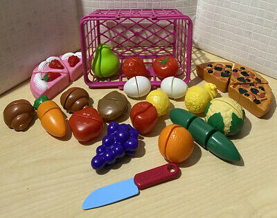 £7.50 • Buy Bundle Of Plastic Play Food 🍕 Choppable With Knife & Basket