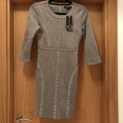 £10 • Buy Topshop Cameo Rose Concession Grey Suede Stud Dress New