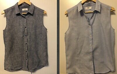 AU10 • Buy 2 Uniqlo Sleeveless 100% Linen Tops Button Up Collar Work Tops