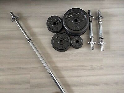 £85 • Buy 35.5kg Pro Power Cast Iron Weight Set With Dumbbell & 5ft Bar