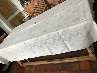 £15.99 • Buy V. LARGE 86x62 Approx. VINTAGE FRENCH DAMASK TABLE CLOTH