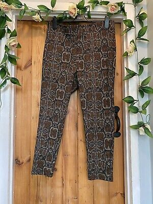 £10 • Buy Marks & Spencer Animal Print Jersey Thick  Trousers,leggings Size 16 Petite