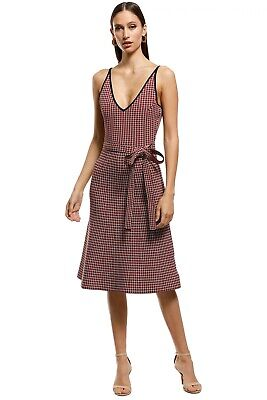 AU128 • Buy Scanlan Theodore Crepe Knit Plaid Dress Red Size Small