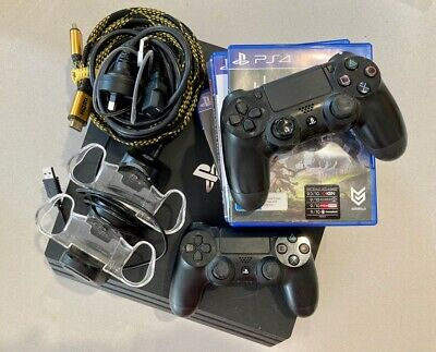AU321 • Buy Sony PlayStation 4 Ps4Pro Black Console 5 Games + 2 Controllers + Charger + HDMI