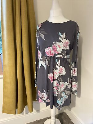 £6.99 • Buy Joules Floral Long Sleeve  Skater  Grey Mix  Dress  Size 14  Ladies Womens