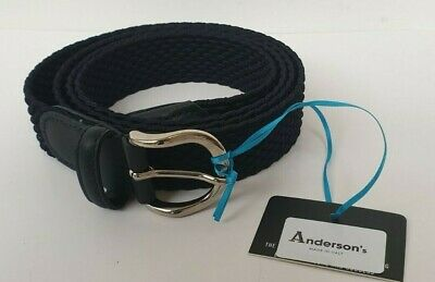£27.95 • Buy ANDERSON'S UNISEX BLACK WOVEN BELT MADE IN ITALY - NEW - SIZE 110cm